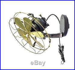 12 Vane brass wall mount fan 3 speed oscillating antique vintage decorate room