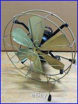 16 Blades Brass Wall Mount Fan Oscillating Work 3 Speed Vintage Antique style