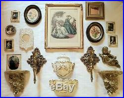 18pc Lot Hollywood Regency Victorian Vtg Wall Decor Sconces Plaques Mirrors