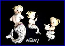 1950's Vintage Mermaid Mom & 2 Babies Ceramic Wall Plaque Hanging Set