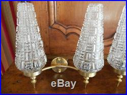 1950s Pair vintage french brass Wall LIGHT SCONCES / mid-century
