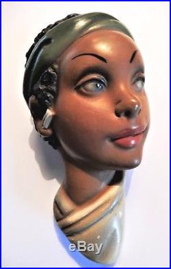 1950s Tretchikoff Style African Lady Chalkware Head Wall Plaque kitsch vintage