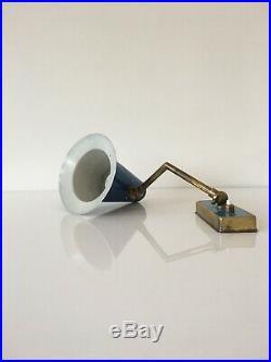 1950s Vintage Italian Wall Light Lamp Blue Brass Stilnovo Bedside