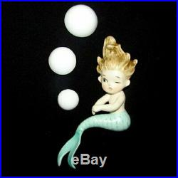 1950s Vintage Lefton MERMAID Sisters w Bubbles Wall Plaque Hanging for Bath