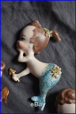 1950s Vintage MERMAID Trio Ceramic Wall Plaque Hanging set of 3 Mom & babies