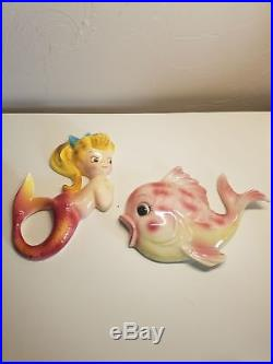 1950s Vintage PY UCAGO Chalkware Mermaid and Fish Vintage Wall Plaques
