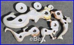 1957 Vintage VEOLA MERMAID SET Ceramic Figurine WALL PLAQUES Aquarium Figures EX