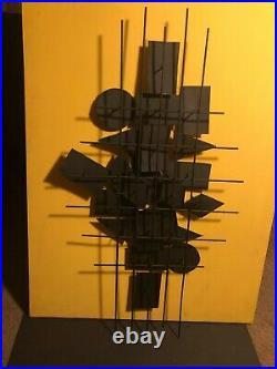 1960s Vintage Brutalist Abstract Mixed Metal Enamel Wall Art Sculpture