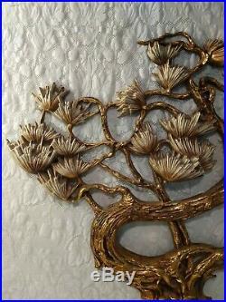 1972 Syroco Bonsair MCM Wall Plaque Gold Flower Vintage Hollywood Regency Decor
