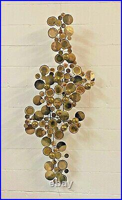 1975 Curtis Jere 65 Raindrops Vtg Mid Century Modern Metal Brass Wall Sculpture