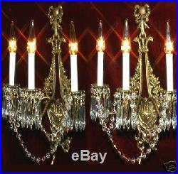 2 Antique Bird old Bronze Brass French Crystal Sconces wall Chandelier Vintage