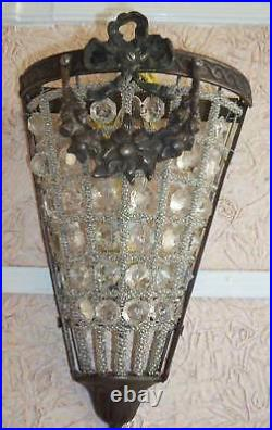 2 Antique Replica Crystal Basket Brass Bird Cage Triangle Wall Sconces Appliques