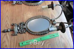 2 Brass Lamp Sconces double candle electric vintage antique wall mirror lights
