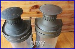 2 Copper & Brass Lantern wall mount Vintage light sconce buggy oil lamp handmade