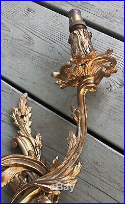 2 French Vintage Rococo Gilt Metal Brass Wall Sconce Lights