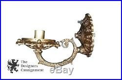 2 Louis XV Style Gilt Brass Wall Sconces With Hurricane Lantern Covers Vtg Light