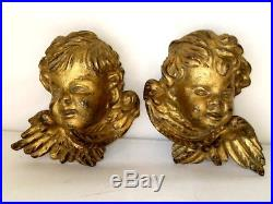 2 Old Vintage Italian Carved Gilded Wood Cherub Angel Head Figure Wall Plaque