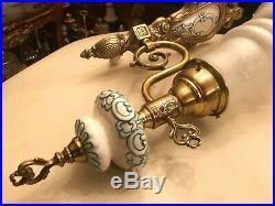 2 Rare Antique French Brass Bronze Empire Style Wall Lamps Matte Glass Shade