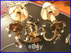 2 Rare Vintage French Brass Bronze Gold Empiry Style Wall Lamps