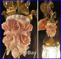 2 Sconce wall lamp Brass bronze Pink Rose vintage Porcelain purple beads Rococo