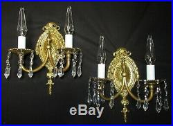 2 VTG FRENCH CAST BRASS CRYSTAL SCONCES CHANDELIER REWIRED WALL FIXTURE 1930's