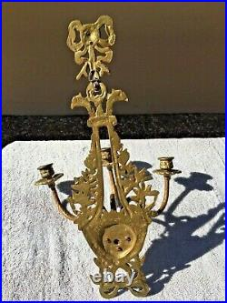 2 Vintage Antique Brass Bow Wall 3-Arm Candle Stick Holders Candelabras Sconces