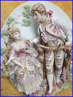 2 Vintage Bisque Porcelain Lovers Sculptural Wall Plaques H 21