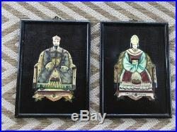 2 Vintage Emperor and Empress hand carved soap stone wall Art on Wood Plaque