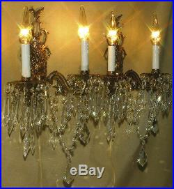 2 Vintage Gilt Bronze Brass Crystal lamp Sconces ROCOCO stl wall chandeliers 19