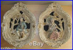 2 Vintage Jayess United Chicago 1963 Victorian Couple Chalkware Wall Plaques