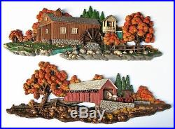 2 Vintage LARGE BURWOOD Wall Plaques COVERED BRIDGE and MILL Each About 41 Long