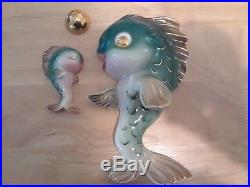 2 Vintage Lefton Ceramic Fish mermaids With Bubble wall plaque figurines
