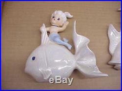 2 Vintage Lefton Ceramic Mermaid on Iridescent Fish Wall Plaque Figurines L@@K