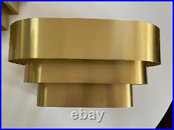 2 Vintage MCM Art Deco Tiered Brass Wall Sconces Lightolier Style