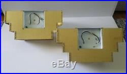 2 Vintage MCM Art-deco Machine Age Tiered Brass Wall Sconces Lightolier Style