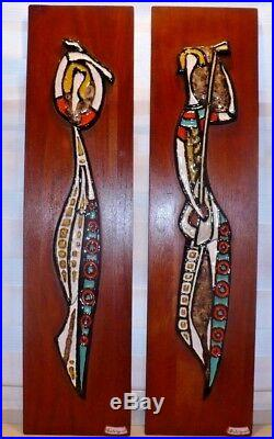 2 Vintage Maurice Chalvignac Art Pottery Teak Wall Plaques 1960s Quebec Canada