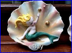 2 Vintage Napco Mermaid Wall Pockets Plaque Green Metallic Gold Blue Pink Bubble