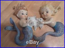 2 Vintage Norcrest Ceramic Mermaids Holding Fish Wall plaque figurines