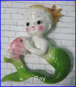 2 Vtg Norcrest Mermaid Wall Plaques Bathroom Ceramic Green Tail Pink Fish