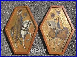 2 Vtg PALLADIO Hand Painted Gold Wooden Wall Plaques Made in Italy