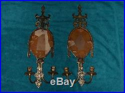 2 Vtg Victorian Cast Brass 2 Candle Wall Sconces W Beveled Mirror Needs Crystals