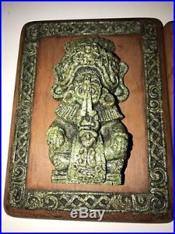2 ZAREBSKI WALL PLAQUES Crushed Malachite AZTEC MAYAN MCM Midcentury VINTAGE ART