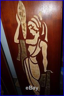 2 vintage large MCM teak Wall Art mid century plaque carved