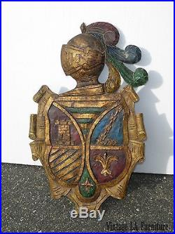 29T Vtg Renaissance Style Carved Wood Hand Painted WALL PLAQUE Coat of Arms