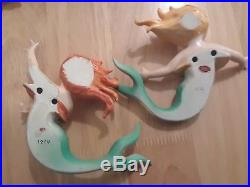 2Vintage LEFTON Ceramic MERMAIDS Wall Plaque Figurines
