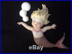 2Vintage Napco/ Norcrest Ceramic MERMAIDS Wall Plaque Figurines
