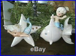 2pc Adorable Vtg Norcrest Mermaid Wall Plaques Japan Boy Girl Starfish Dolphin