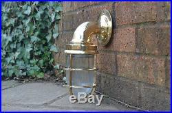 2x nautical Wall Light Vintage Retro Cage Bulkhead Old Brass Ship Lamp