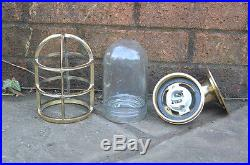 2x nautical Wall Light Vintage Retro Cage Bulkhead Old Brass Ship Lamp