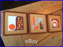 3 Mid Century Modern Vintage Retro Abstract Geometric Pop Art Tiles Wall Plaques